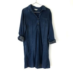 J. Jill Denim Chambray Half Button Shirt Dress